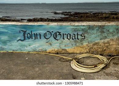 Stonewall With Village Name John o'Groats At The North Coast Of Scotland
