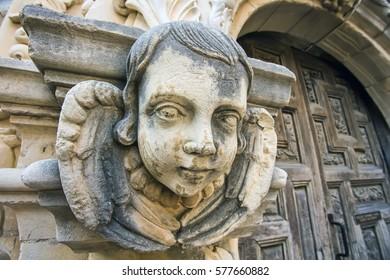 Stonework cherub at the San Jose Mission in San Antonio, Texas.