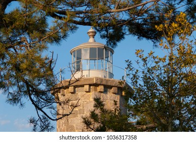 Stonington Lighthouse tower, made of stone is surrounded by pine trees in Stonington, Connecticut. The lighthouse is now used as the townâ??s library.