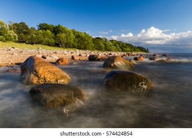 stony baltic seaside in evening an sunset