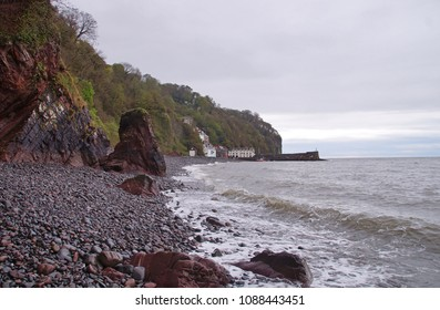 The stony beach next to the small fishing village of Clovelly in the northern part of Devon, England