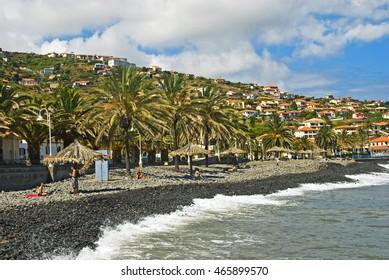 Stony beach in Santa Cruz village on Madeira Island, Portugal