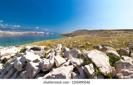 Stony landscape of Island of Pag, Croatia, Europe
