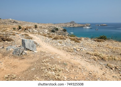 Stony landscape on the way to the Kleoboulous's tomb in Lindos on the Rhodes Island, Greece.
