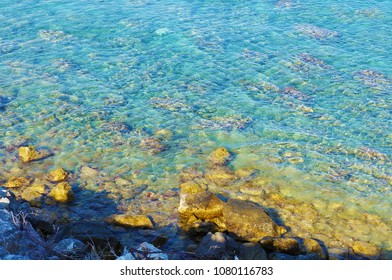 Stony sea shore and rocks in the  transparent water