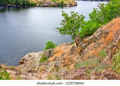 stony slopes of the Dnieper in Zaporozhye, Ukraine