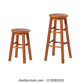 Stool chairs in different height isolated on white background with clipping path.