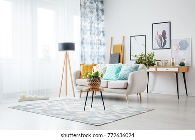 Stool with plant on carpet and lamp in living room with posters above cabinet behind sofa with blue cushion