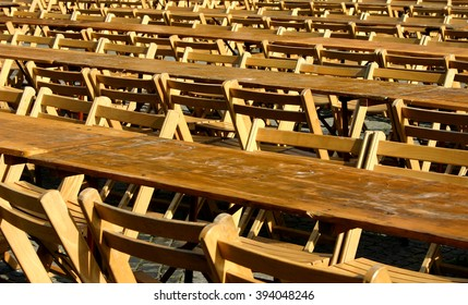 stools and tables of a Beer garden