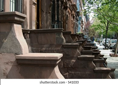 stoops in neighborhood on Upper West Side in NYC