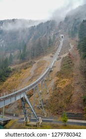 Stoos, Switzerland - December 30, 2018: Newly opened funicular to Stoos in Switzerland is the steepest funicular in the world. It reaches maximum gradient of 110 percent