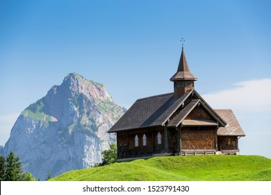 Stoos-Kirche church in front of Großer Mythen mountain, Stoos, Morschach, canton of Schwyz, Switzerland