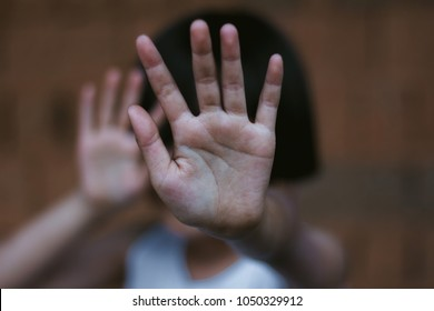 Stop abusing childrenl violence. child bondage in angle image blur , Human Rights Day concept.