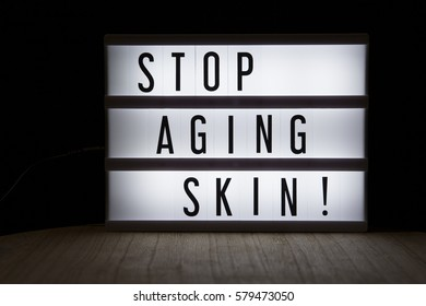 'Stop aging skin' text in lightbox