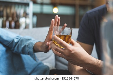 Stop alcohol concept. Person refuse to drink alcohol.