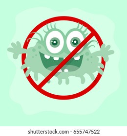 Stop bacteria cartoon illustration. No bacteria sign with cute cartoon germ in flat style design isolated. Red alert circle symbol for antibacterial products. Stop virus warning sign