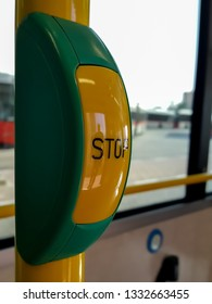 Stop Button in a Dubai RTA City Bus [Dubai, United Arab Emirates - January 7, 2019]