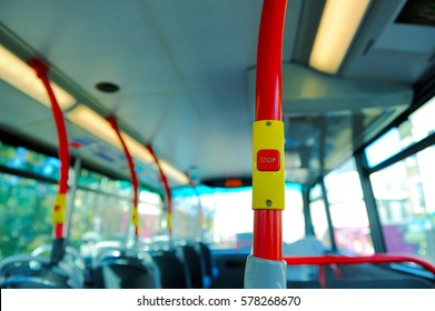 Stop button on the London bus