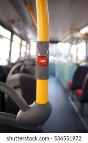 Stop button on a London City Bus, Public Transport