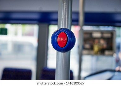 Stop button on a public transport bus to stop