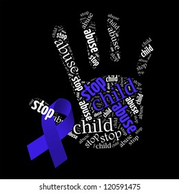 Stop Child Abuse word clouds with Blue Ribbon