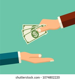 Stop corruption concept. Handcuffs on hands. Hand giving money during business corrupt deal. Bribery vector. Anti corruption icon.