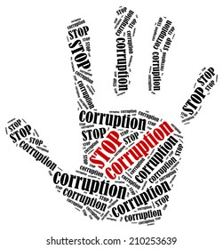 Stop corruption. Word cloud illustration in shape of hand print showing protest.