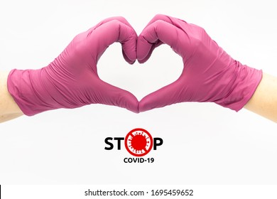 Stop covid-19 collaboration love heart defeat coronavirus together fight pandemic