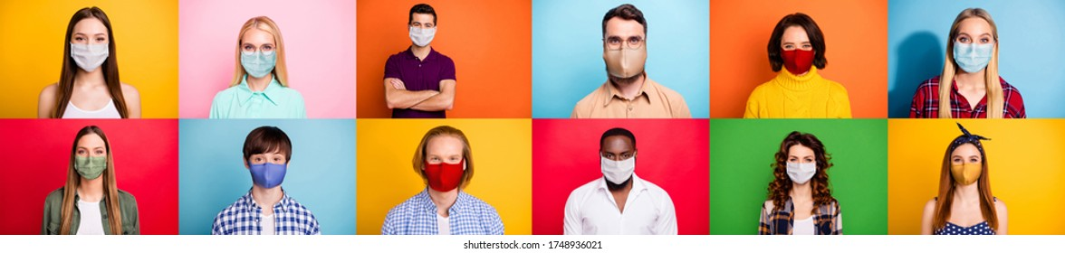 Stop covid-2019 concept. Photo montage multiple composite image of careful crowd of people of different age and ethnicity using face facial sterile masks isolated over colorful background