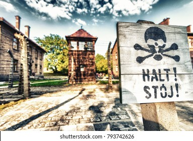 Stop death sign at concentration camp Auschwitz Birkenau Poland.