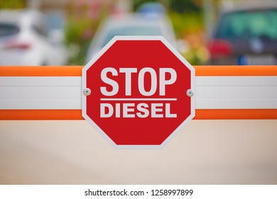 Stop diesel fuel sign