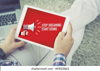 STOP DREAMING START DOING ANNOUNCEMENT CONCEPT ON SCREEN