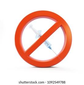 stop drugs syringe  on a white background 3D illustration, 3D rendering