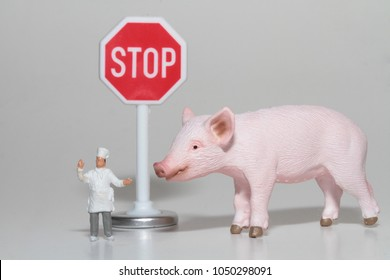 stop eating pigs miniatures concept