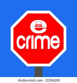 stop e-crime with laptop sign illustration JPEG