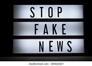'Stop fake news' text in ligtbox