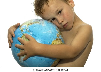Stop the global warming! Picture of a sweating boy holding a globe, representing the rising temperature on our earth. He's got his whole life in front of him.