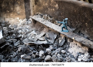 Stop Guard Toy Soldier In Fireplace Ashes