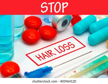 Stop hair loss. Vaccine to treat disease. Syringe and vaccine with drugs.