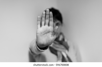 stop hand of woman sign of discrimination or anti violence symbol