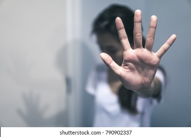 Stop harassment and abuse in relationship. Hand stop no