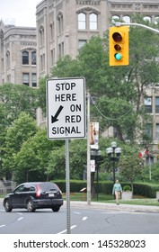 Stop Here On Red Signal Signage Stock Photo Edit Now 145328023