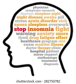Stop insomnia in word cloud concept