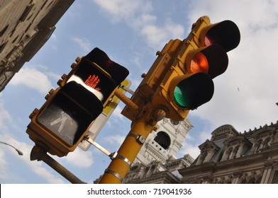 Stop Light with Walk Signal at an angle