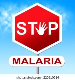 Stop Malaria Showing Warning Sign And Danger