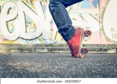 stop move on the skates. concept about leisure and fun. Skater boy performing special move