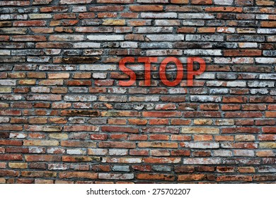 'STOP' on the wall