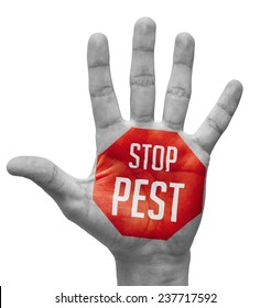 Stop Pest Sign Painted - Open Hand Raised, Isolated on White Background