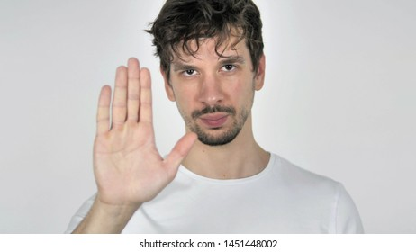 Stop, Portrait of Young Casual Man Stopping with Hand