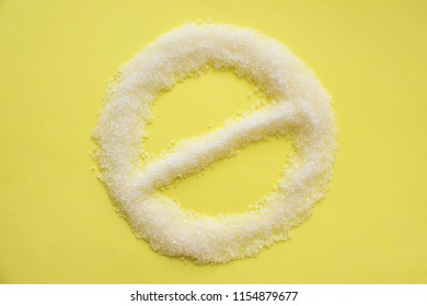 Stop prohibition sign on sugar. Diet and weight loss, refusal of sweet. Diabetes problems, harm from eating, dependence on flavoring, allergy. Pain in the teeth, caries. Challenge.